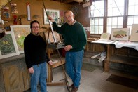 Two artists in studio