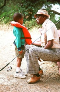 Father and young son Fishing
