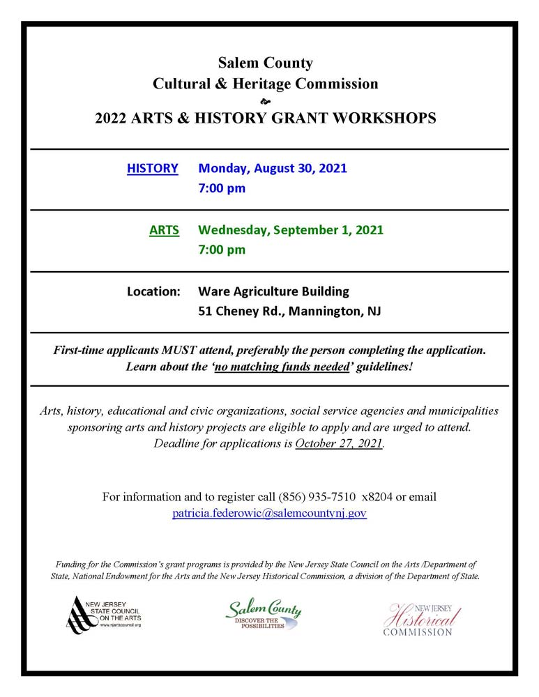 C&H grant applications for Arts & History 2022, and Workshops